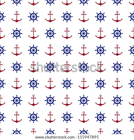 Seamless nautical pattern with red anchors and blue ship wheels. Design element for wallpapers, baby shower invitation, birthday card, scrapbooking, fabric print etc. Vector illustration. - stock vector