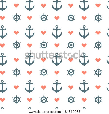 Seamless nautical pattern with red heart, white anchors and ship wheels - stock vector