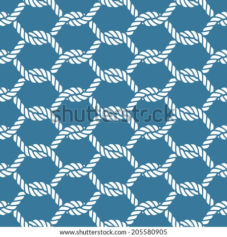 Seamless nautical rope knot pattern, fishing net - stock vector