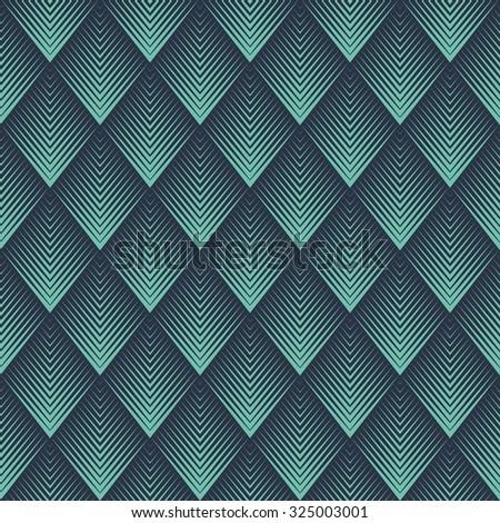 Seamless neon blue op art rhombic chevron blend pattern vector - stock vector