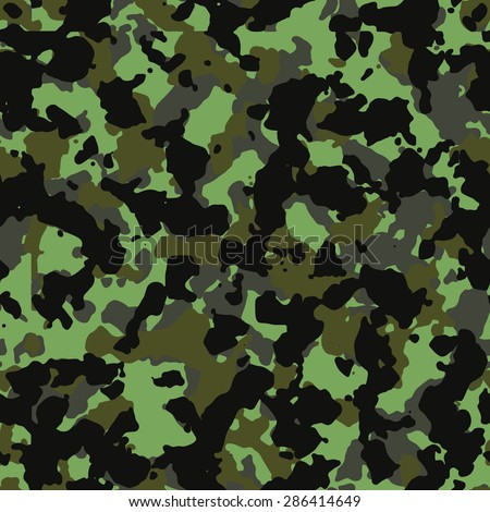 Seamless neon green and black fashion camouflage pattern vector - stock vector
