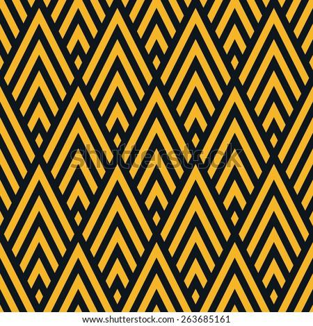 Seamless neon orange rhombic chevrons art deco pattern vector - stock vector