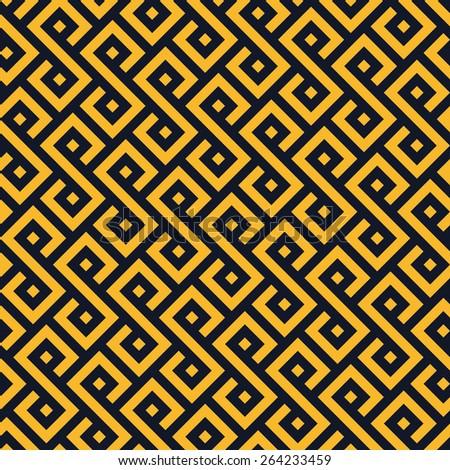 Seamless neon orange square ethnic pattern vector - stock vector