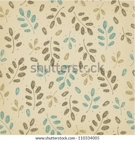 Seamless neutral autumn vintage pattern with leaves on beige background - stock vector
