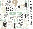 Seamless Numbers background in retro vintage style - stock photo