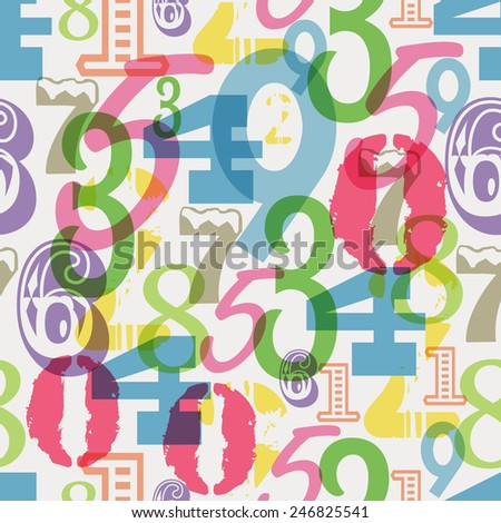 seamless numbers pattern, vector illustration - stock vector