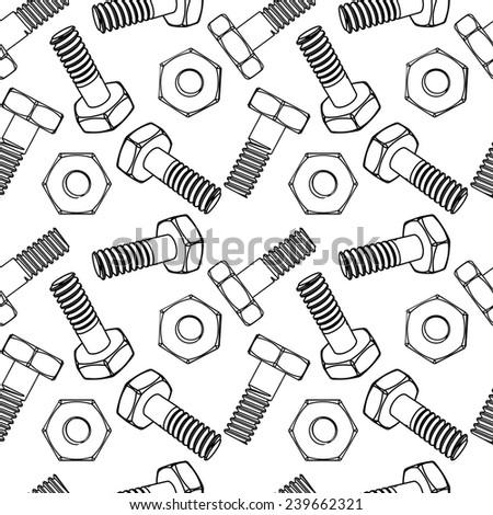 Seamless nuts and bolts. Vector illustration. Different projections - stock vector