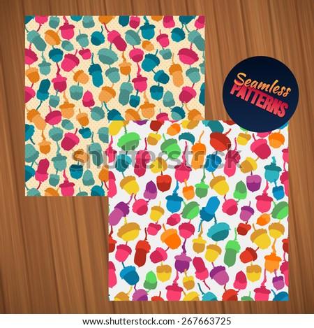 seamless oak acorn pattern set rainbow colors - stock vector