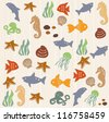 Seamless ocean life pattern 2 - stock vector