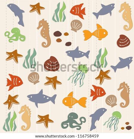 Seamless ocean life pattern 2 - stock vector