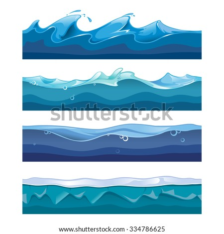 Seamless ocean, sea, water waves vector backgrounds set for ui game in cartoon design style. Nature interface graphic curve storm flow illustration - stock vector