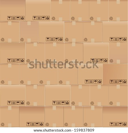 Seamless of corrugated boxes - stock vector
