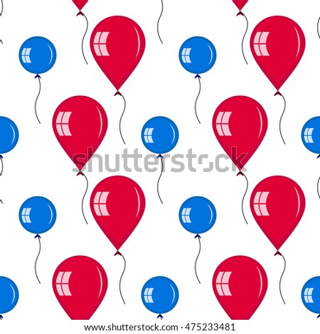 Seamless of red and blue balloons. symmetric ornament of different type of balloons for your design