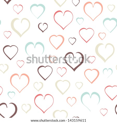 Seamless of red hearts for Valentine day on white background - vector illustration.You can use it to fill your own background. - stock vector