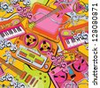 Seamless old school music pattern - stock