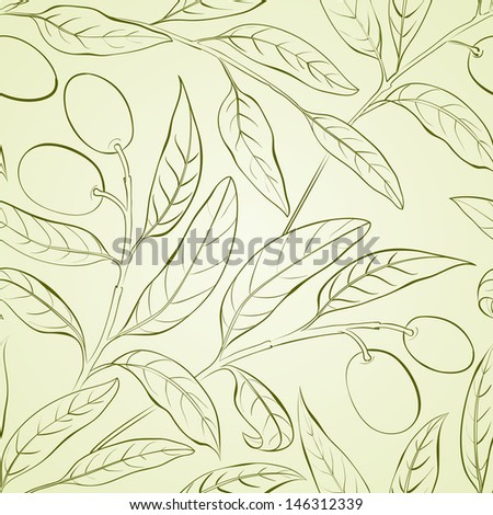Seamless olive background. Vector illustration. - stock vector