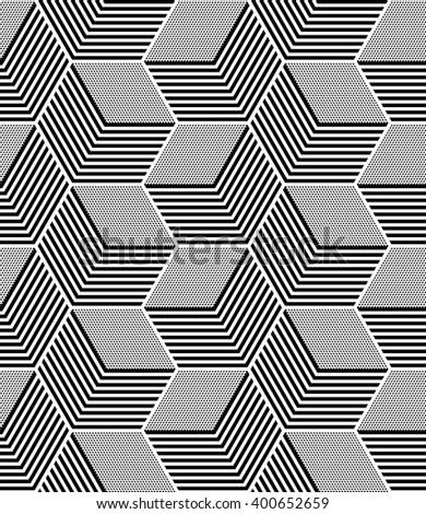 Seamless op art pattern. Geometric hexagons and diamonds texture. Vector art. - stock vector