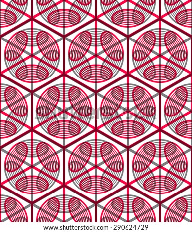 Seamless optical ornamental pattern with three-dimensional geometric figures. Intertwine colored EPS10 composition. - stock vector