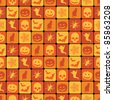 seamless orange halloween pattern with clipping path - stock vector