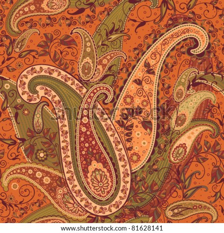 seamless orange paisley design - stock vector