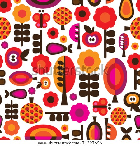 Seamless orange red retro flower with apple pear butterfly pattern in vector - stock vector