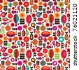 Seamless orange red retro flowers with fruit and butterfly pattern in vector - stock vector