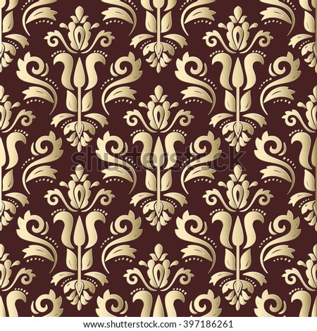 Seamless oriental brown and golden ornament. Fine vector traditional oriental pattern with 3D elements, shadows and highlights