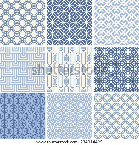 Seamless oriental geometric patterns set in blue  - stock vector