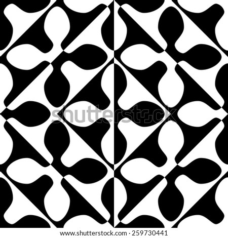 Seamless Oriental Ornament. Abstract Black and White Background. Vector Geometric Pattern - stock vector