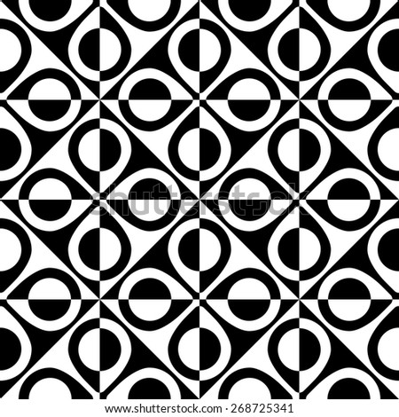 Seamless Oriental Ornament. Vector Ring Pattern. Abstract Monochrome Background - stock vector