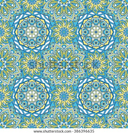 Seamless oriental ornamental pattern. Vector laced decorative background with floral and geometric ornament. Repeating geometric tiles with mandala. Indian or Arabic motive. Boho festival style. - stock vector