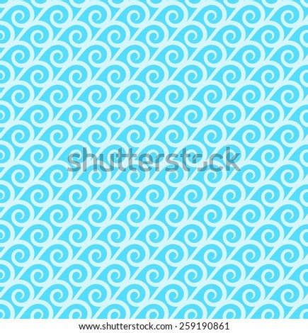 Seamless Oriental Pattern of Overlapped Spirals  of White Color on Cyan Background. - stock vector