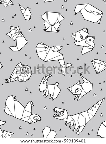 Seamless Origami Pattern With Animals And Triangles Paper Bear Cat Owl Whale
