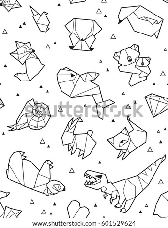 Seamless Origami Pattern With Ink Animals And Triangles Paper Bear Cat Owl