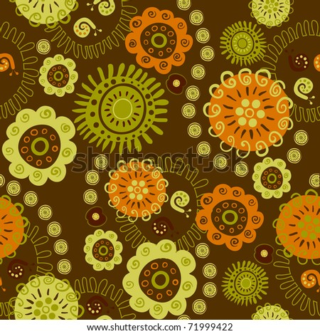 seamless ornament of decorative flowers and snails - stock vector