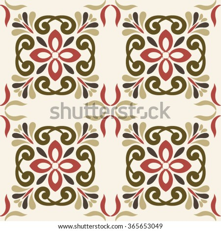 Seamless ornament  pattern in marsala-brown-beige colors - like retro tiles - stock vector
