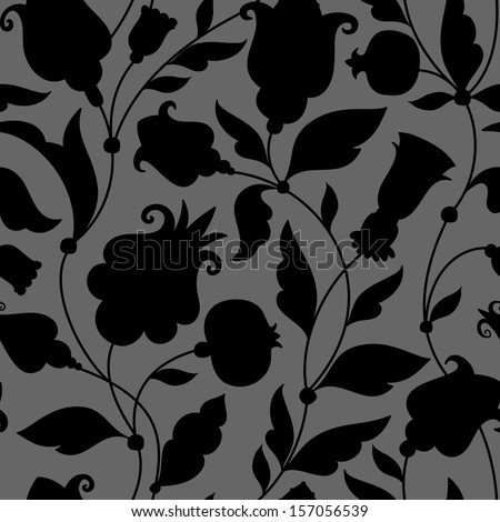 Seamless ornament with decorative elements and flowers. silhouette - stock vector