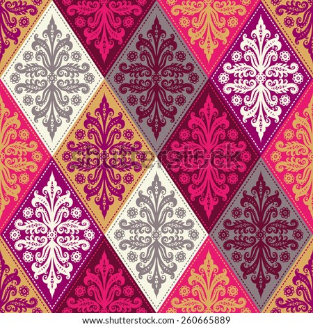 Seamless ornament with decorative elements. vintage wallpaper - stock vector