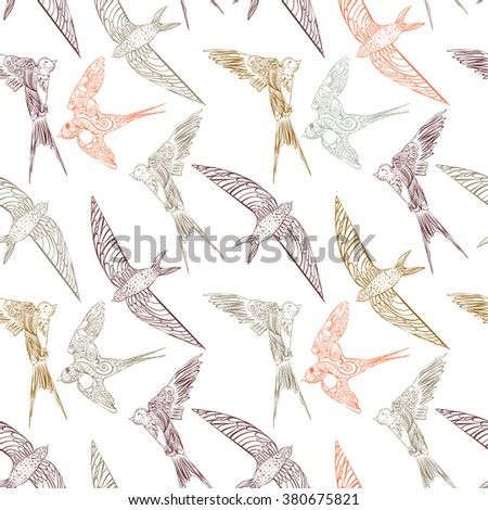 Seamless ornament with patterned birds - stock vector