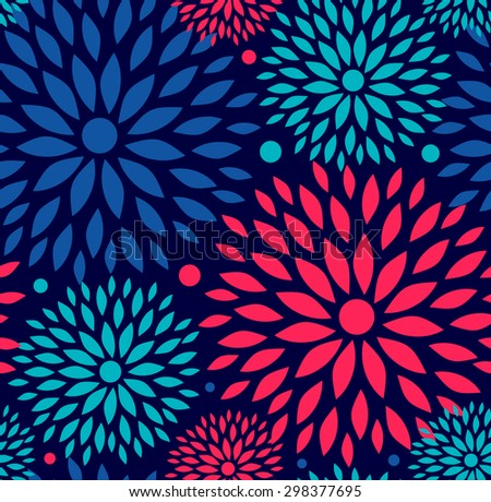 Seamless ornamental floral pattern. Decorative abstract background with round flowers - stock vector