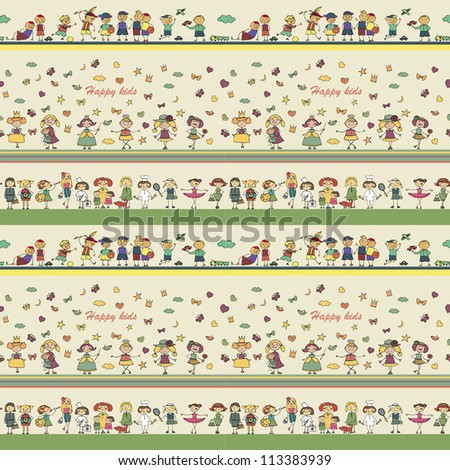 seamless ornamental pattern for kids, magazines , web sites, textile industry, happy kids playing - stock vector