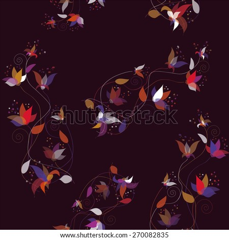 Seamless ornamental pattern with abstract colorful flowers on purple background - stock vector