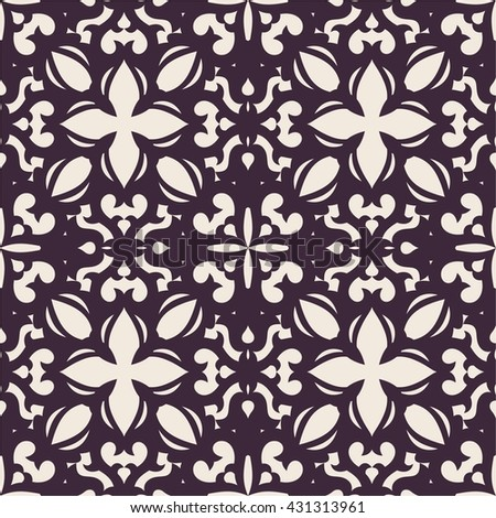 Seamless ornate pattern with elements in oriental style. Fabric or wallpaper texture. Tatar motifs in design