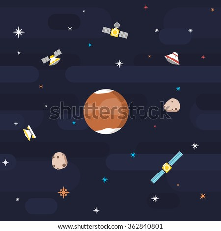 Seamless outer space pattern in flat style, depicting planet Mars surveyed by various orbiting satellites, with its moons orbiting and stars decorating the background.  - stock vector