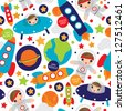 Seamless outer space ufo rocket science kids background pattern in vector - stock vector