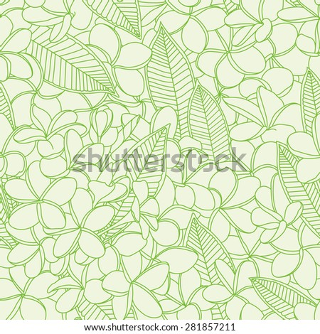 Seamless outlined pattern with plumeria flowers - stock vector