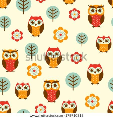seamless owl cartoon pattern - stock vector