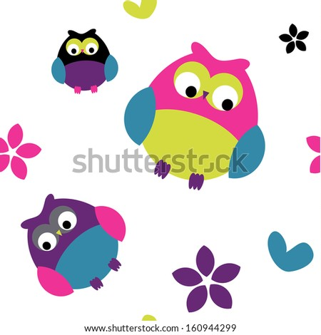 Seamless Owl, flower, and hearts pattern - stock vector