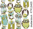 Seamless owl pattern. - stock vector