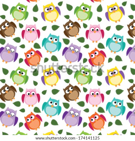 seamless owl pattern with leaves on a transparent background - stock vector
